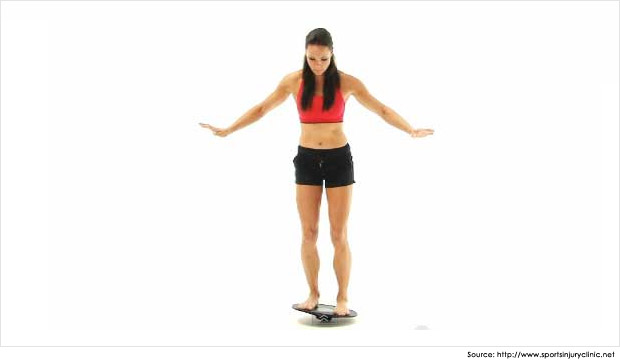 Fig 2.  Use of a wobble board for balance and ankle proprioception retraining (Image sourced from www.sportsinjuryclinic.net)