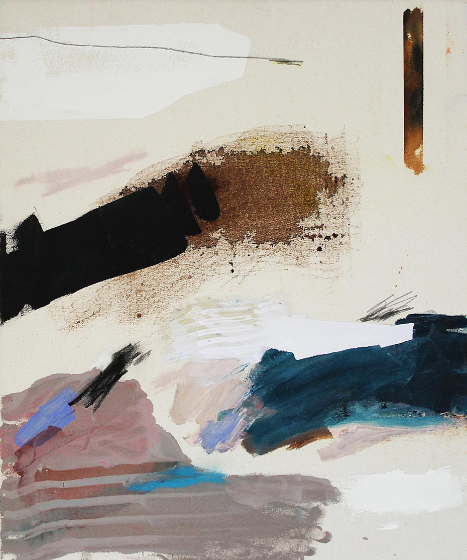 "OASIS 25"" x 21"" acrylic, dye, pastel, graphite on canvas"