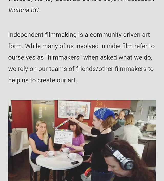 Director @blkframes' #bcculturedays article about collaboration in indie film is now live on the Culture Days website. :) It also features a few #PityPartyMovie behind the scenes pics! . . . #bcfilm #indiefilm #independentfilm #culture365 #filmmaking #filmmaker #productionlife #setlife #bts #writer #director #womeninfilm #womeninhorror #comedy #horror #yyj #yyjarts #featurefilm