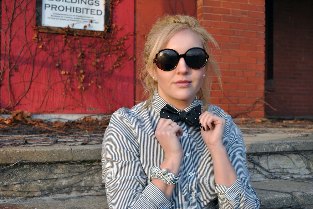 Polka-dot bow ties & stripes outfit - thoughtfulwish