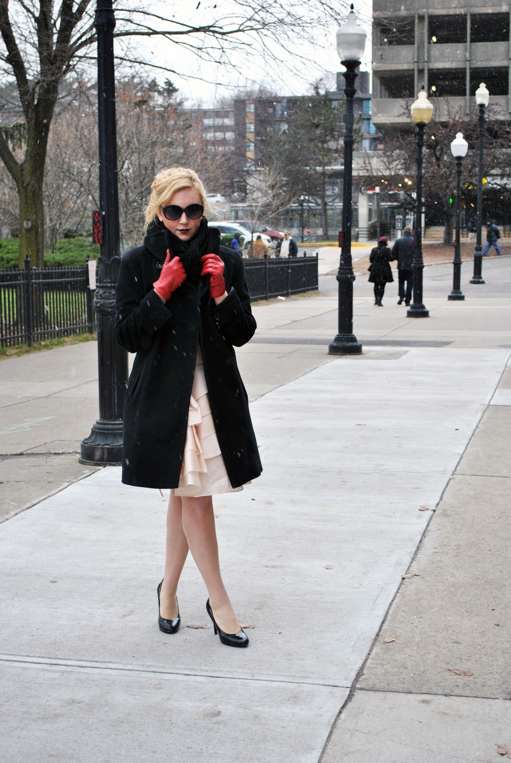 Blush Pink Milly Dress for a holiday party, black coat red gloves - thoughtfulwish