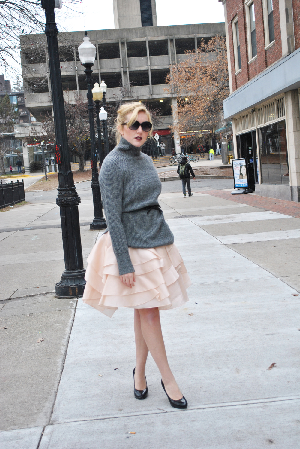Blush Pink Milly Dress with chunky knit sweater overlay - thoughtfulwish