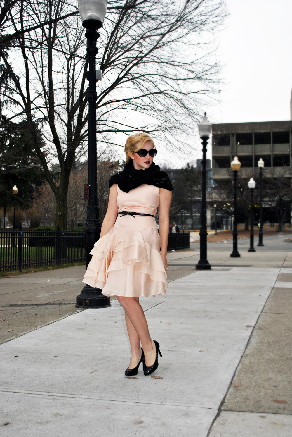 Blush Pink Milly Dress for a holiday party with an infinity scarf - thoughtfulwish
