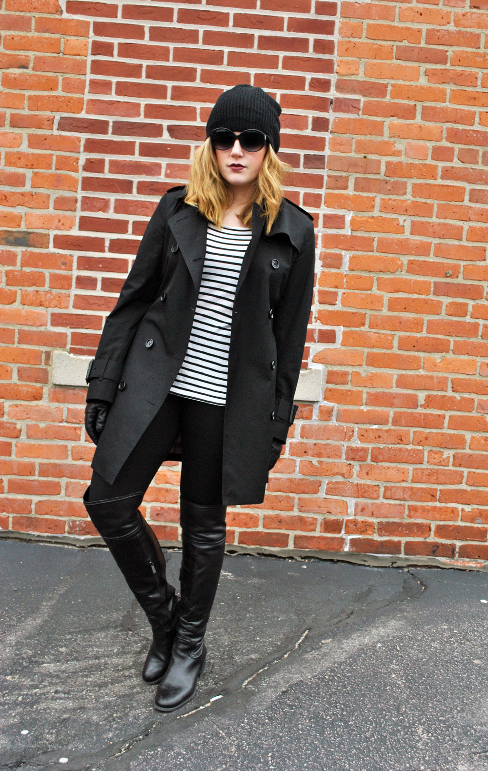 Black trench with stripes and leather | thoughtfulwish