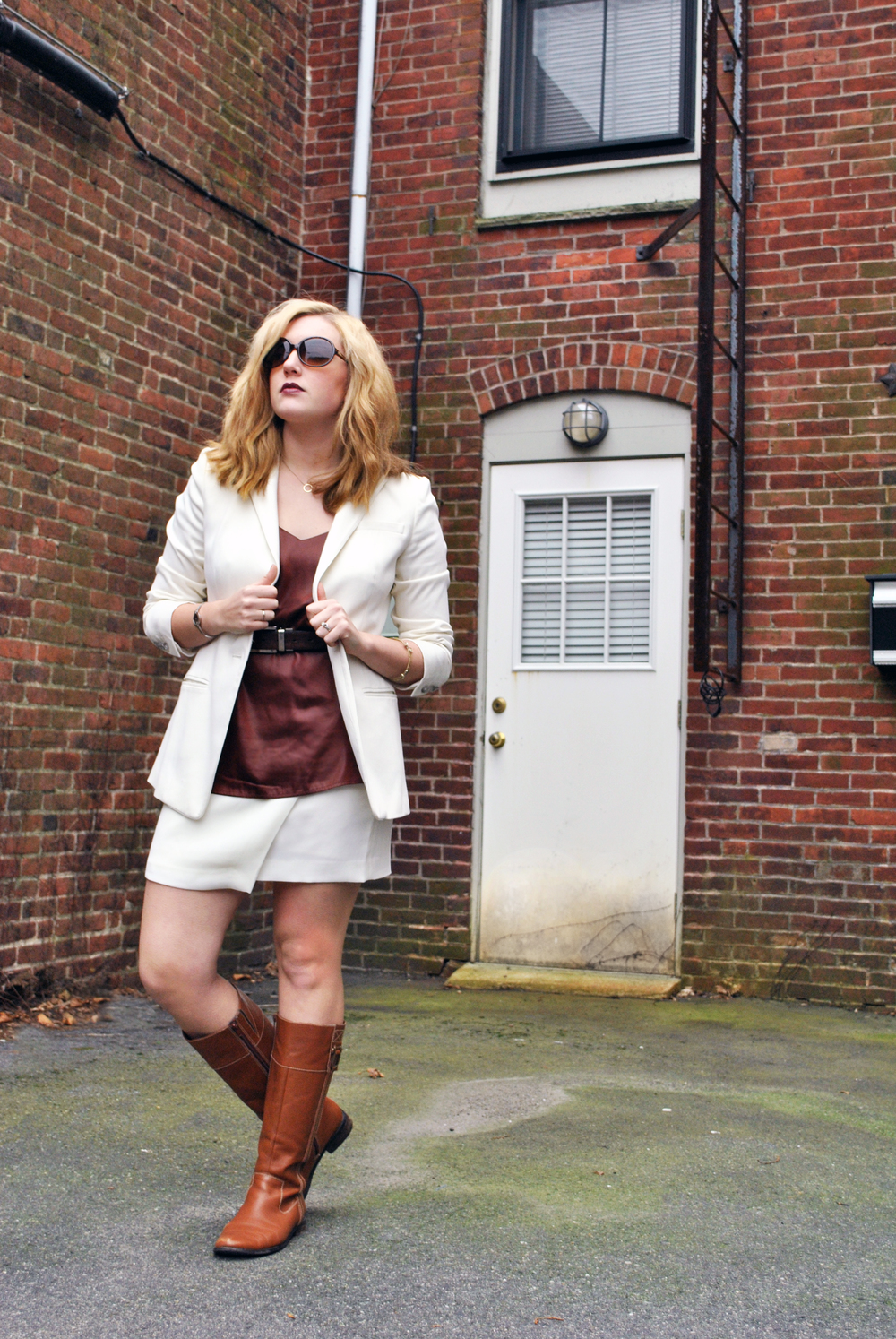 burgundy and winter white, asymmetrical skirt | thoughtfulwish