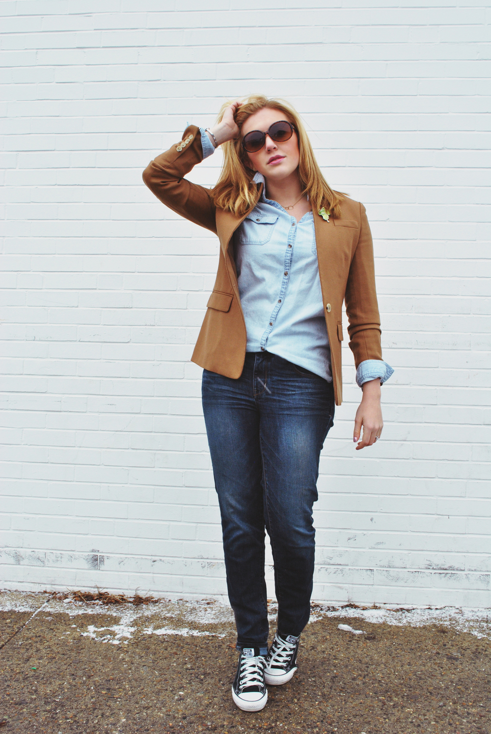 Jcrew Regent Camel Blazer and denim | thoughtfulwish
