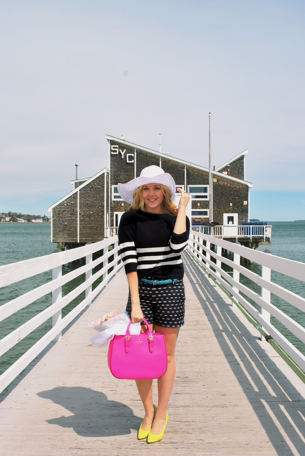Life's a Beach | thoughtfulwish // kate spade // yellow heels // navy outfit