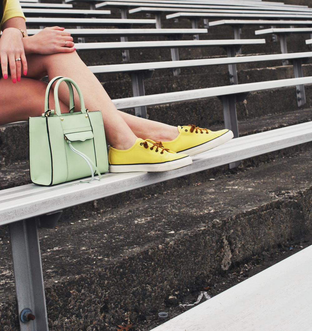 Pretty Stripes | thoughtfulwish // stripes // yellow sperrys // kate spade // rebecca minkoff