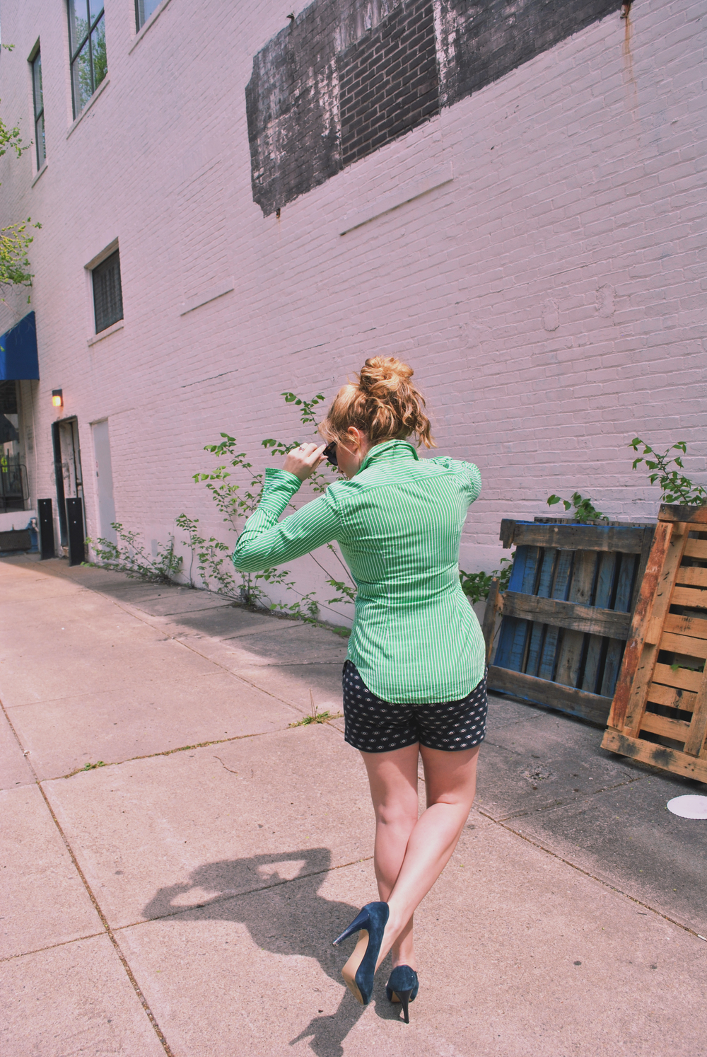 green and navy // preppy outfit // hipster girl // messy bun // mixed patterns // thoughtfulwish