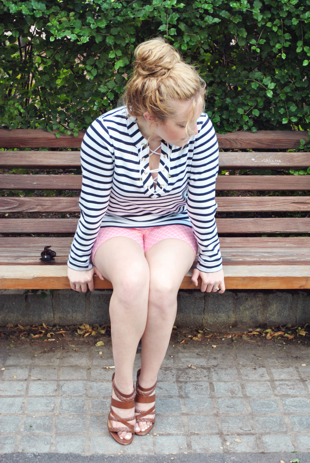 stripes // kate spade // diamond shorts // pink // navy // nautical // boston // thoughtuflwish