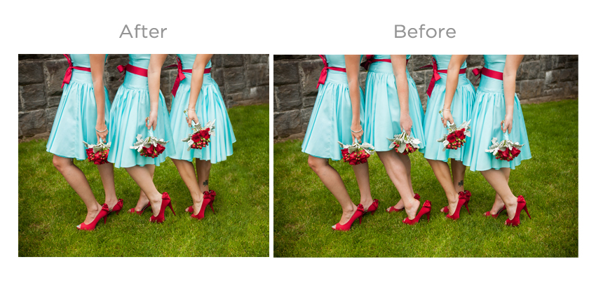 Removing a bridesmaid from a group shot, and filling in the gap of where she would be, with the third bridesmaid.