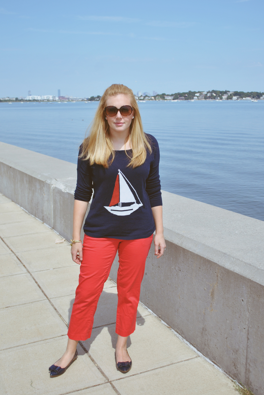 New England Style // Pre Fall outfit // coral // navy // sailboat sweater // Boston Style // jcrew | thoughtfulwish