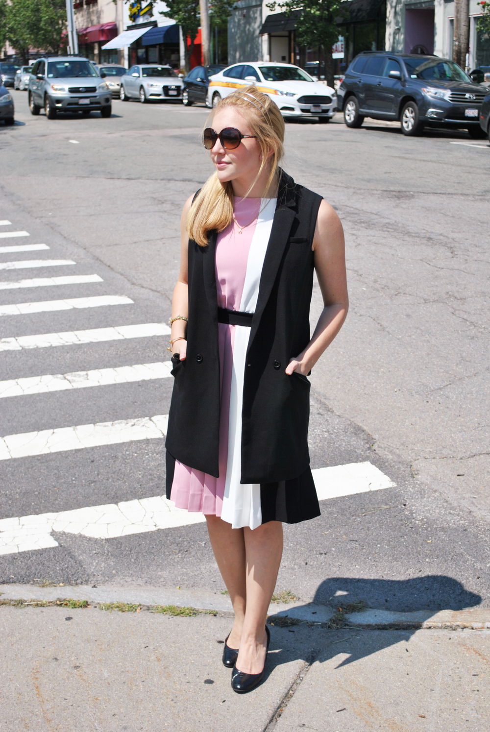kate spade // color block dress // pink // black // preppy outfit // new england style // boston style // newton | thoughtfulwish