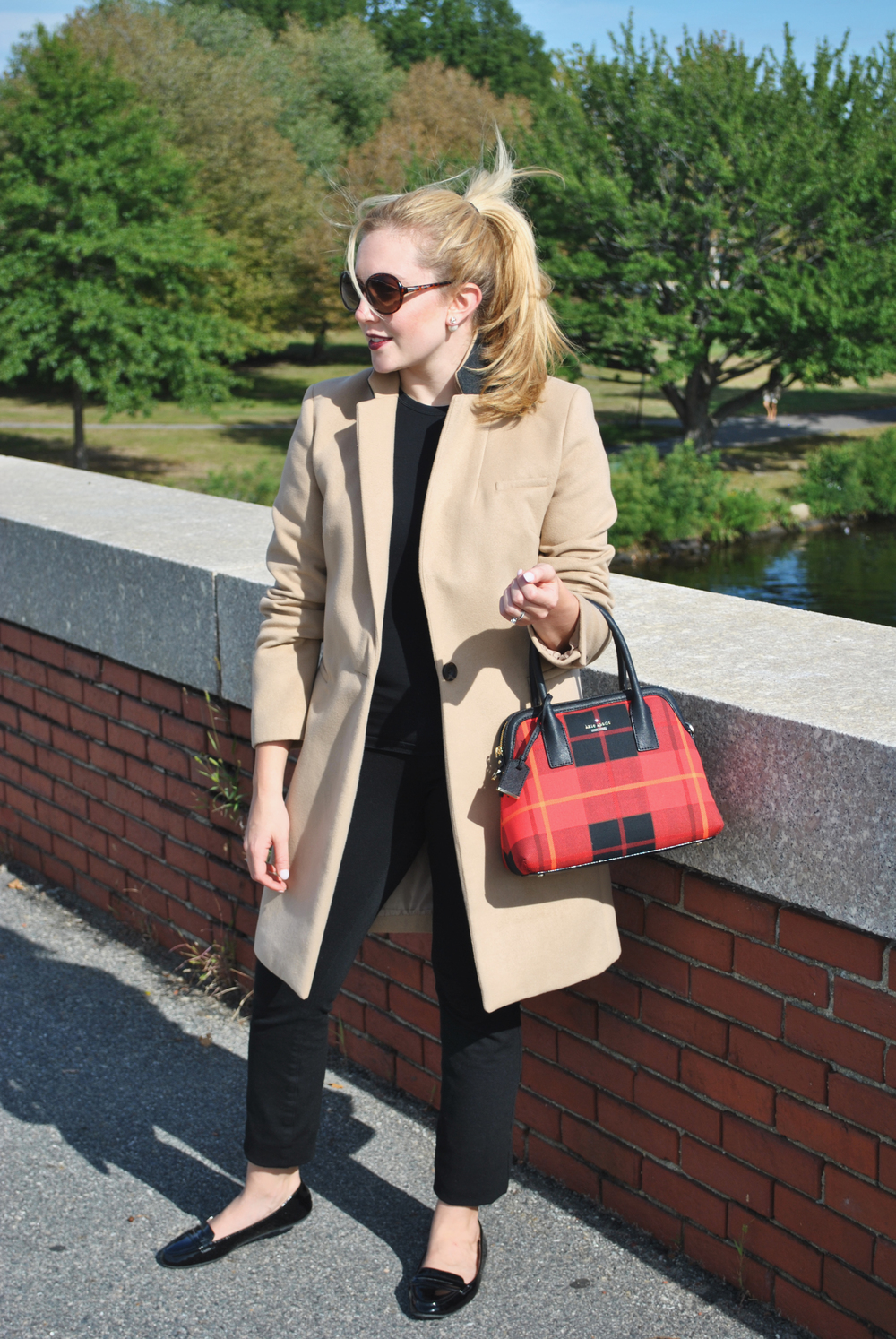 thoughtfulwish | camel // red // camel coat // red bag // kate spade // primark // primark USA // boston // boston fashion // preppy outfit // fall outfit