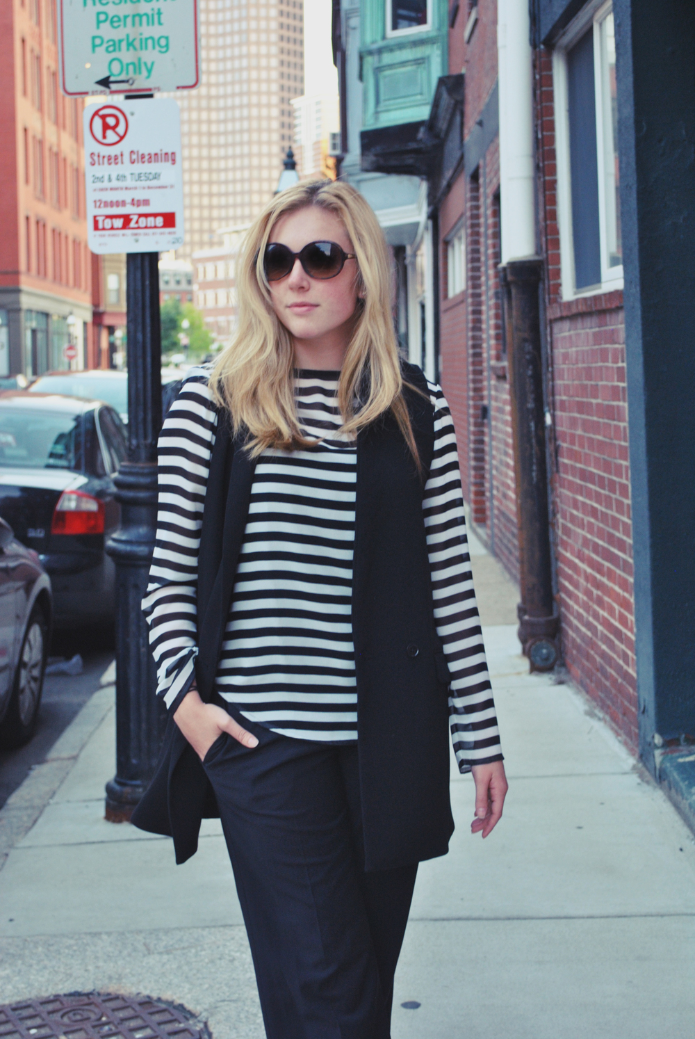 thoughtfulwish | annie hall // fall outfit // black and white fashion // work outfit // stripes // vest // kate spade // banana republic
