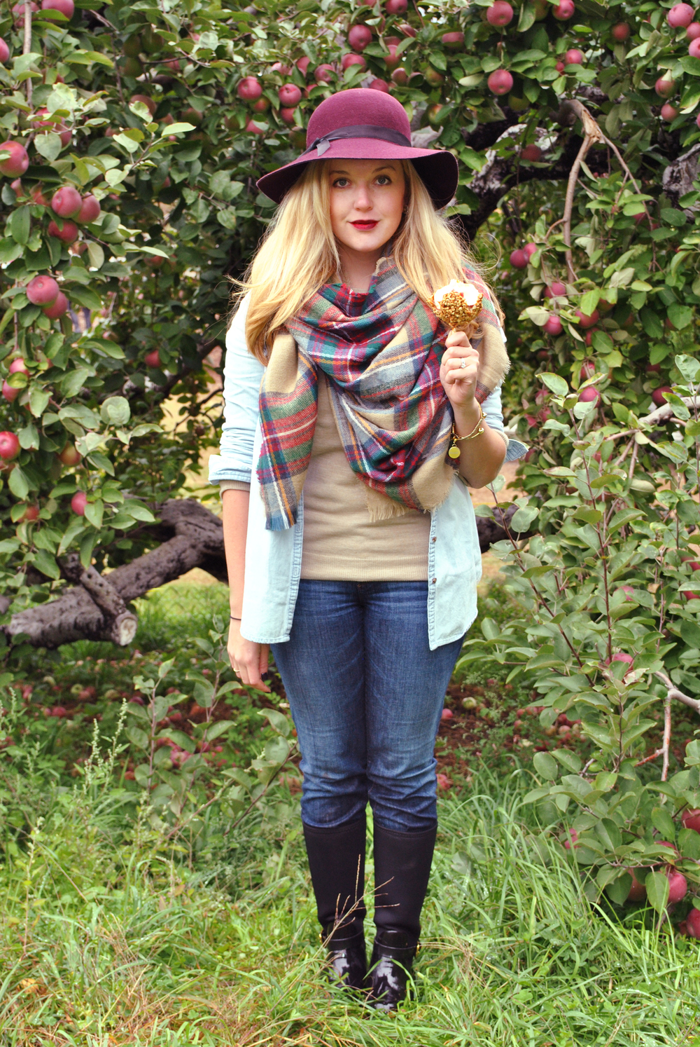 thoughtfulwish | preppy outfit // fall outfit // apple picking outfit // fall fashion // plaid scarf // plaid bag // rain boots // kate spade // muse // american gothic // new england gothic