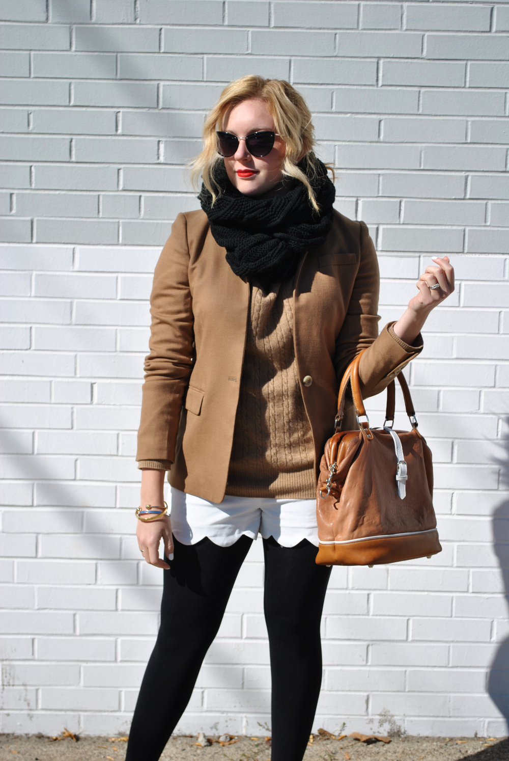 thoughtfulwish | black and tan // preppy outfit // indian summer outfit // fall outfit // fashion // camel jacket // camel sweater // white shorts // shorts for fall // jcrew // kate spade // flea bag