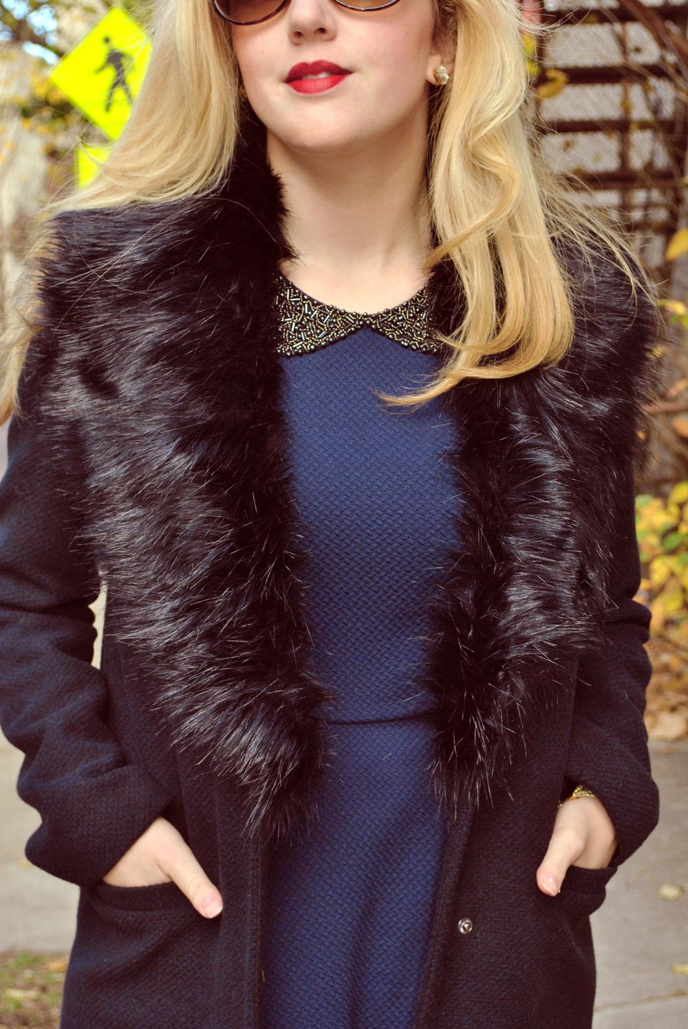 thoughtfulwish | preppy outfit // boston fashion // new england fashion // preppy // faux fur // navy dress // kate spade // primark boston // scream queens fashion