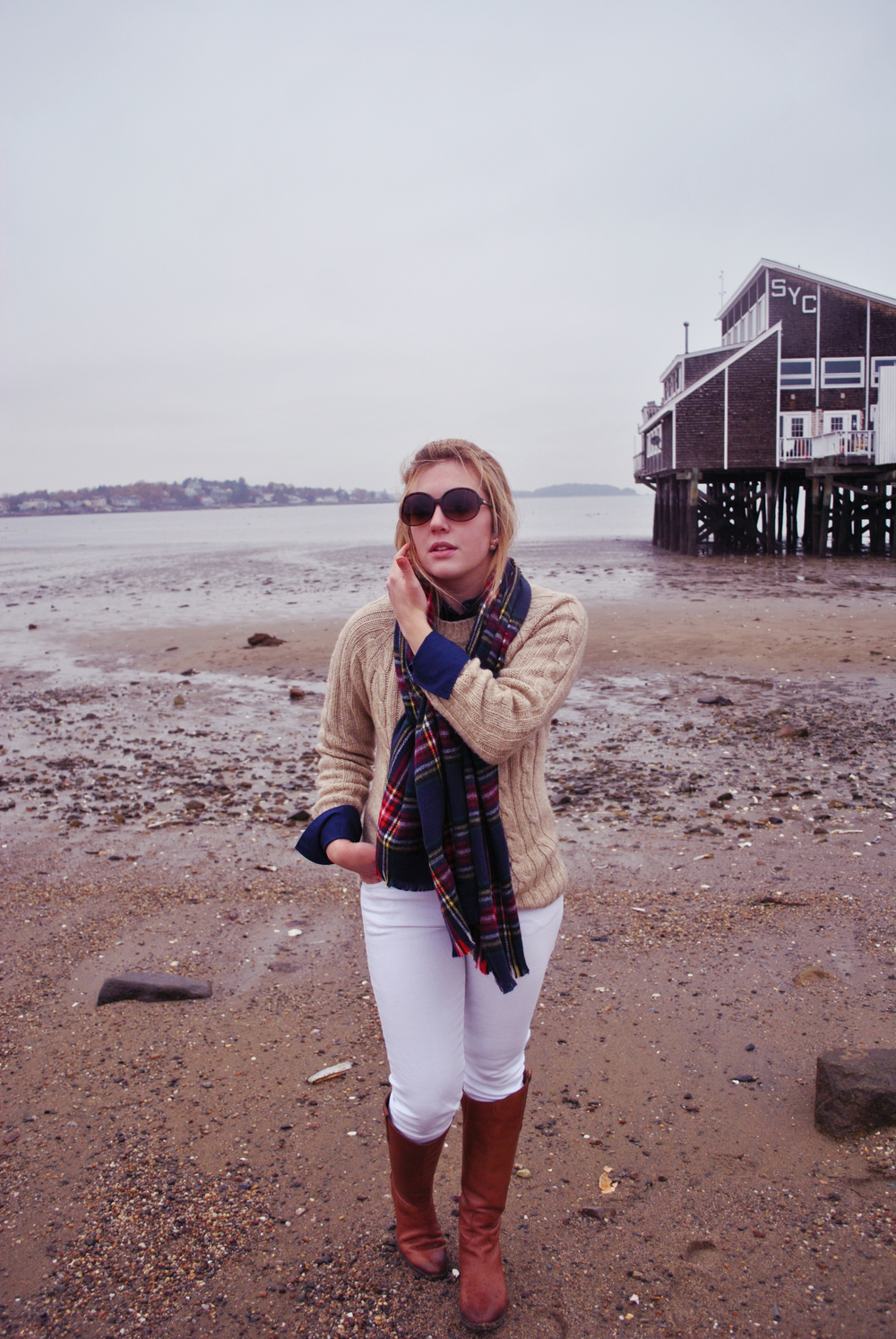 thoughtfulwish | boston fashion blogger // blanket scarf // camel sweater // white jeans // winter outfit