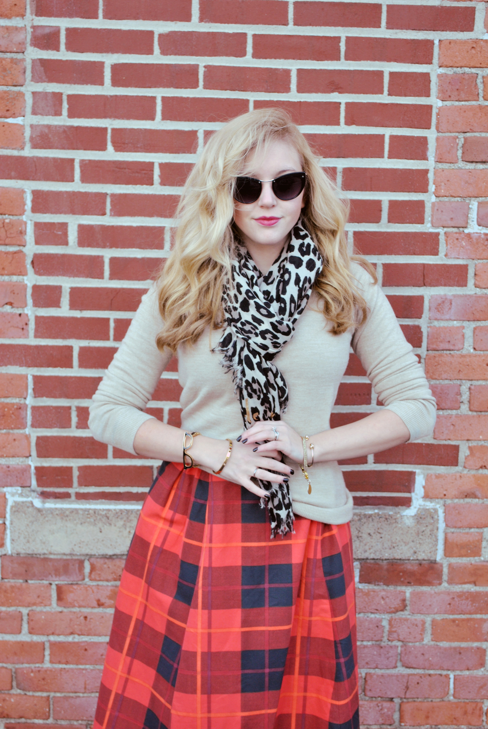 thoughtfulwish | kate spade // plaid skirt // camel // moto jacket // leopard print scarf // preppy outfit // rocker outfit