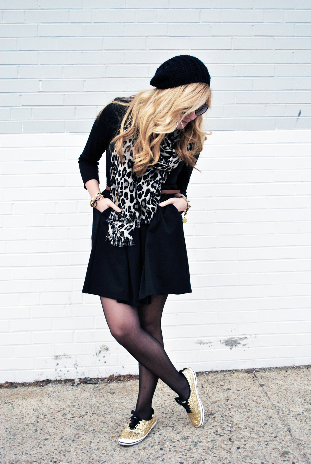 thoughtfulwish | black and gold outfit // preppy // little black dress // kate spade // keds // glitter // meredith wish // boston