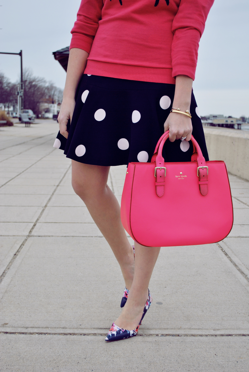 thoughtfulwish | meredith wish boston // talbots // crab sweater // polka dots // preppy outfit // spring outfit // cape style // kate spade