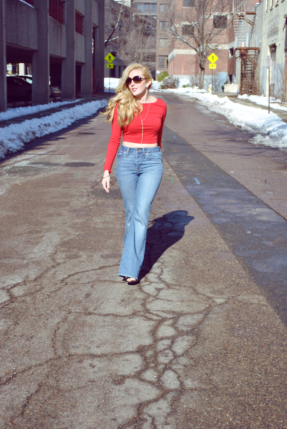 thoughtfulwish | fashion blogger // 70s style // diary of a teenage girl // bell bottoms // wide leg jeans // jeans // crop top // boston fashion // new england fashion
