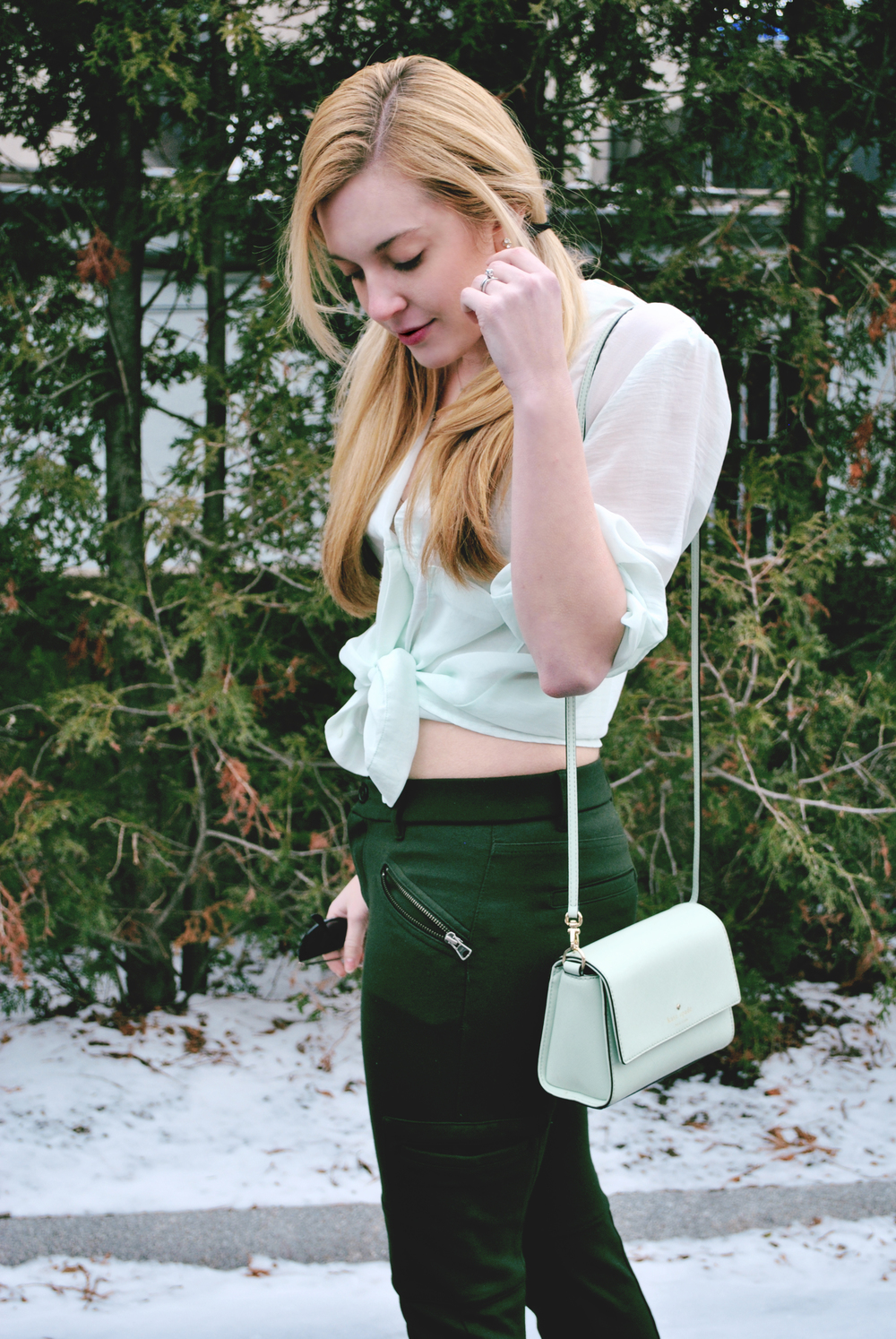 thoughtfulwish | mint outfit // olive outfit // mint shirt // st. patty's outfit // green outfit // spring outfit // camel coat // boston fashion // meredith wish // wool overs
