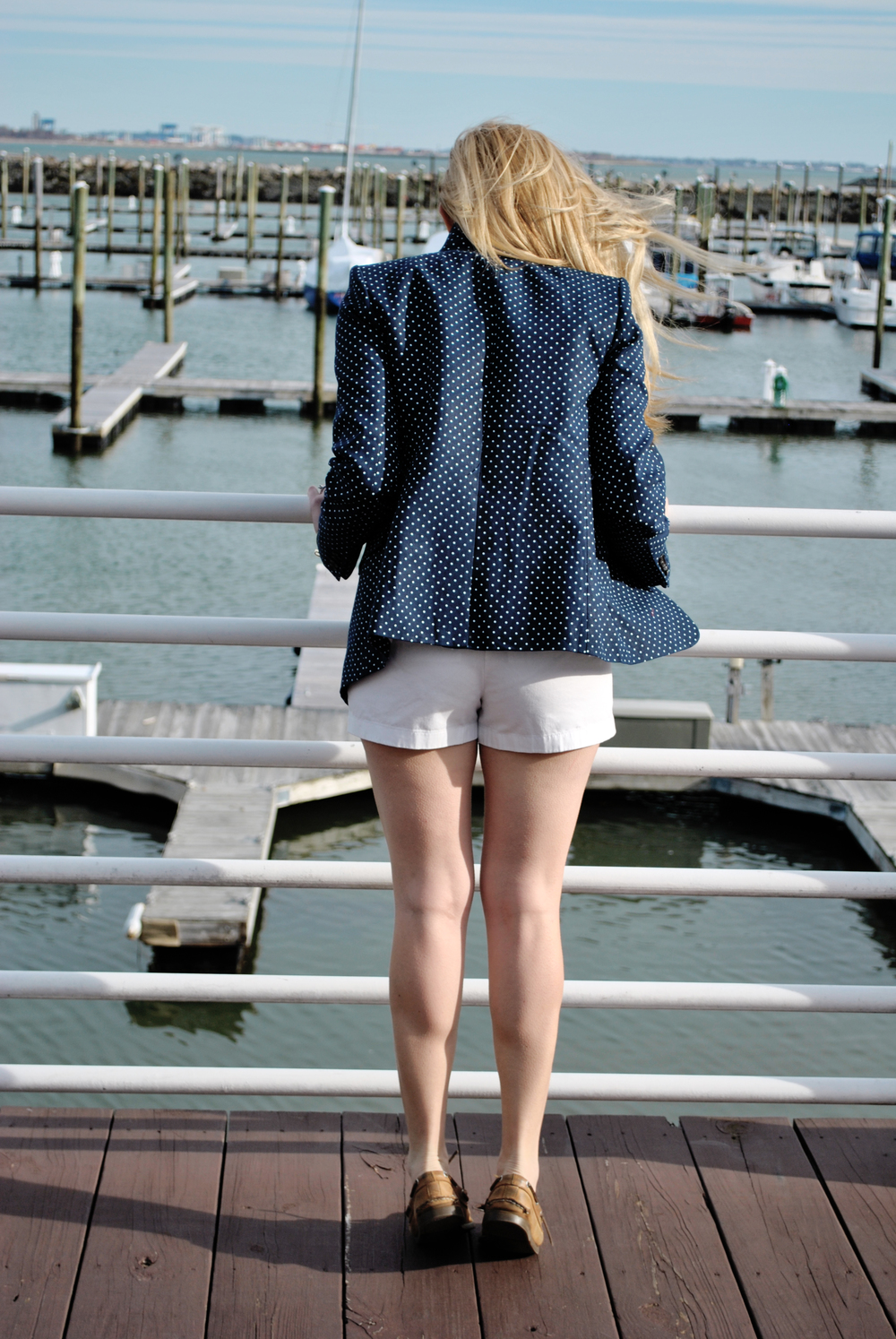 thoughtfulwish | j.crew // nautical outfit // stripes // polkadots // j.crew regent // blazer // polkadot blazer // white shorts // boston // boston blogger // meredith wish