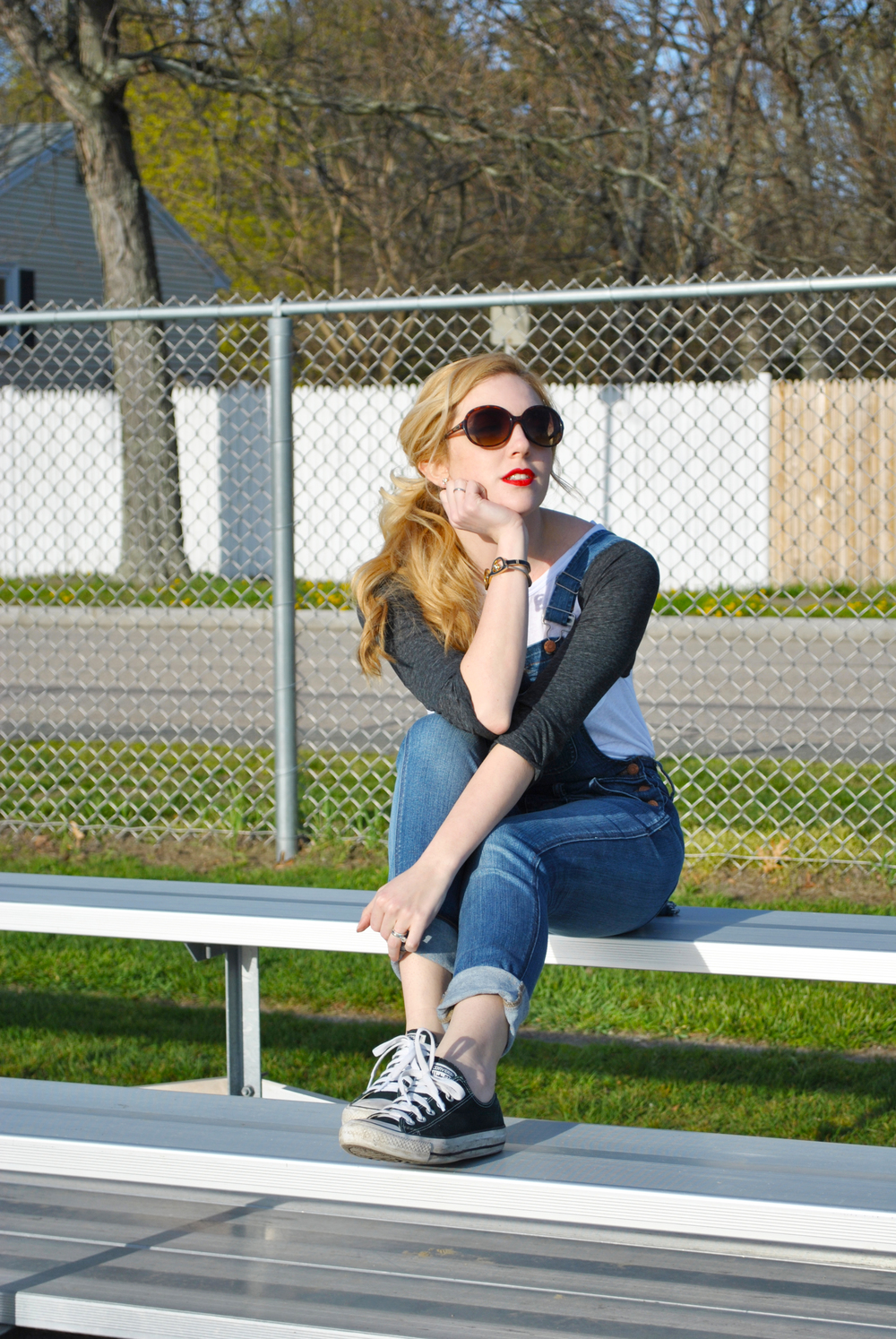 thoughtfulwish | baseball fashion // fashion blogger // boston // boston blogger // baseball tee // overalls // madewell // kate spade // summer // ootd // meredith wish