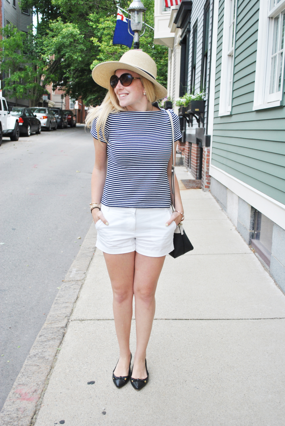 thoughtfulwish | kate spade // summer outfit // stripe tee // hat // black and white // shorts // boston fashion blogger
