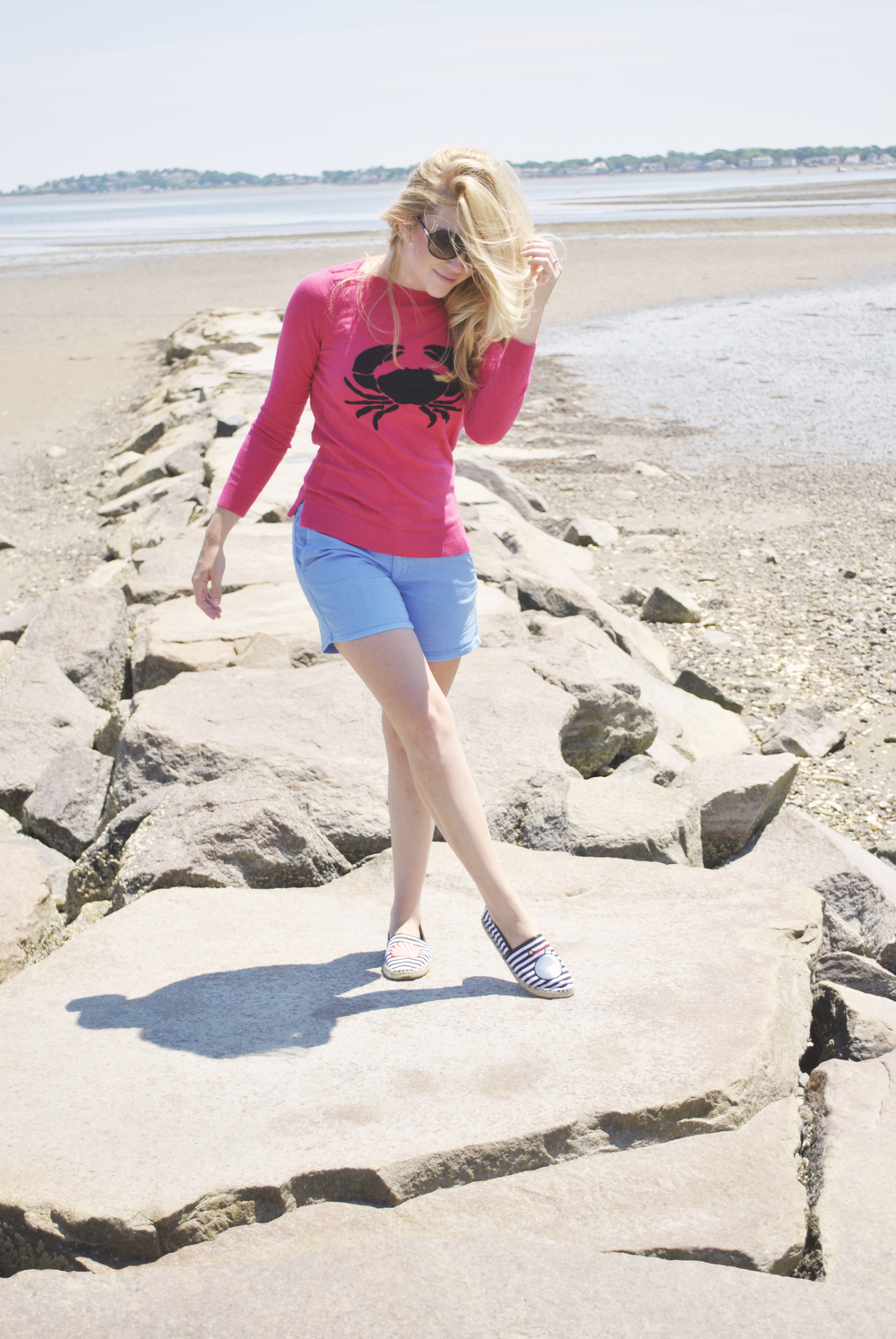 thoughtfulwish | talbots // novelty // crab sweater // pink // shorts // new england fashion // preppy outfit // beach life // ocean life // salty hair