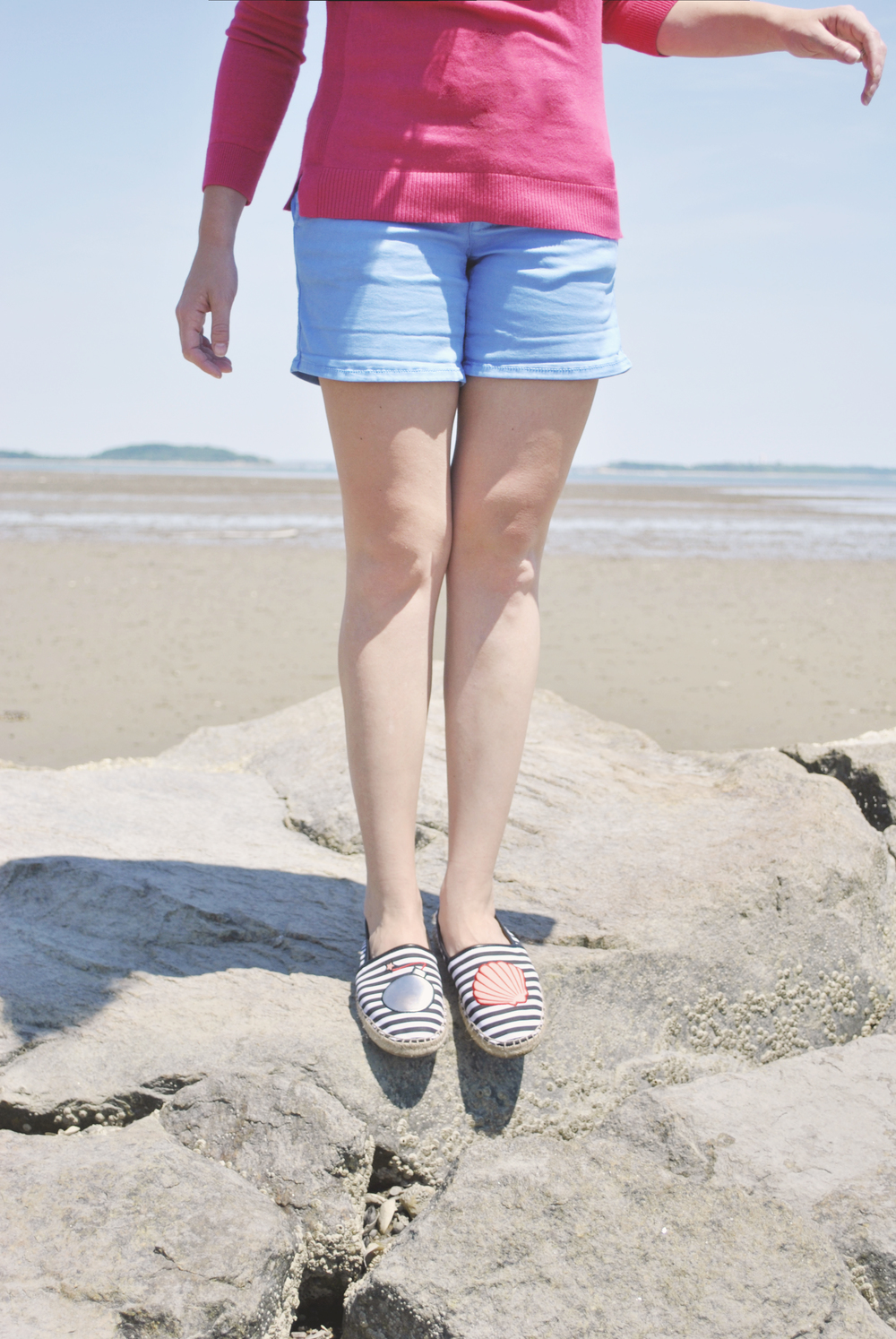 thoughtfulwish | talbots // novelty // crab sweater // pink // shorts // new england fashion // preppy outfit // beach life // ocean life // salty hair // bombshell // sam edelman // circus shoes