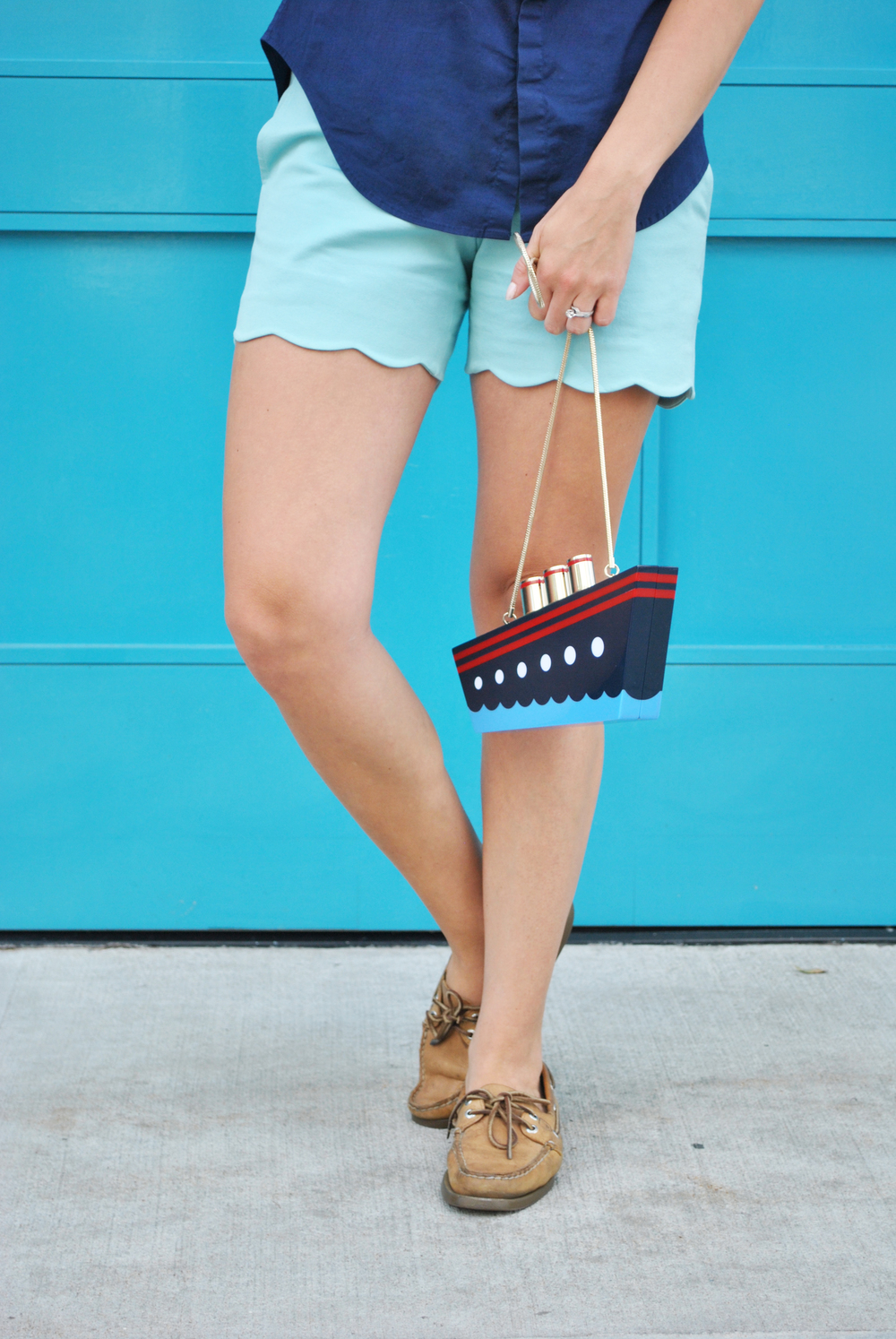 thoughtfulwish | blue outfit // j.mcglaughlin // scallop shorts // ralph lauren // portobello road // kate spade ny // kate spade // novelty bag // ship purse // preppy // boston // meredith wish