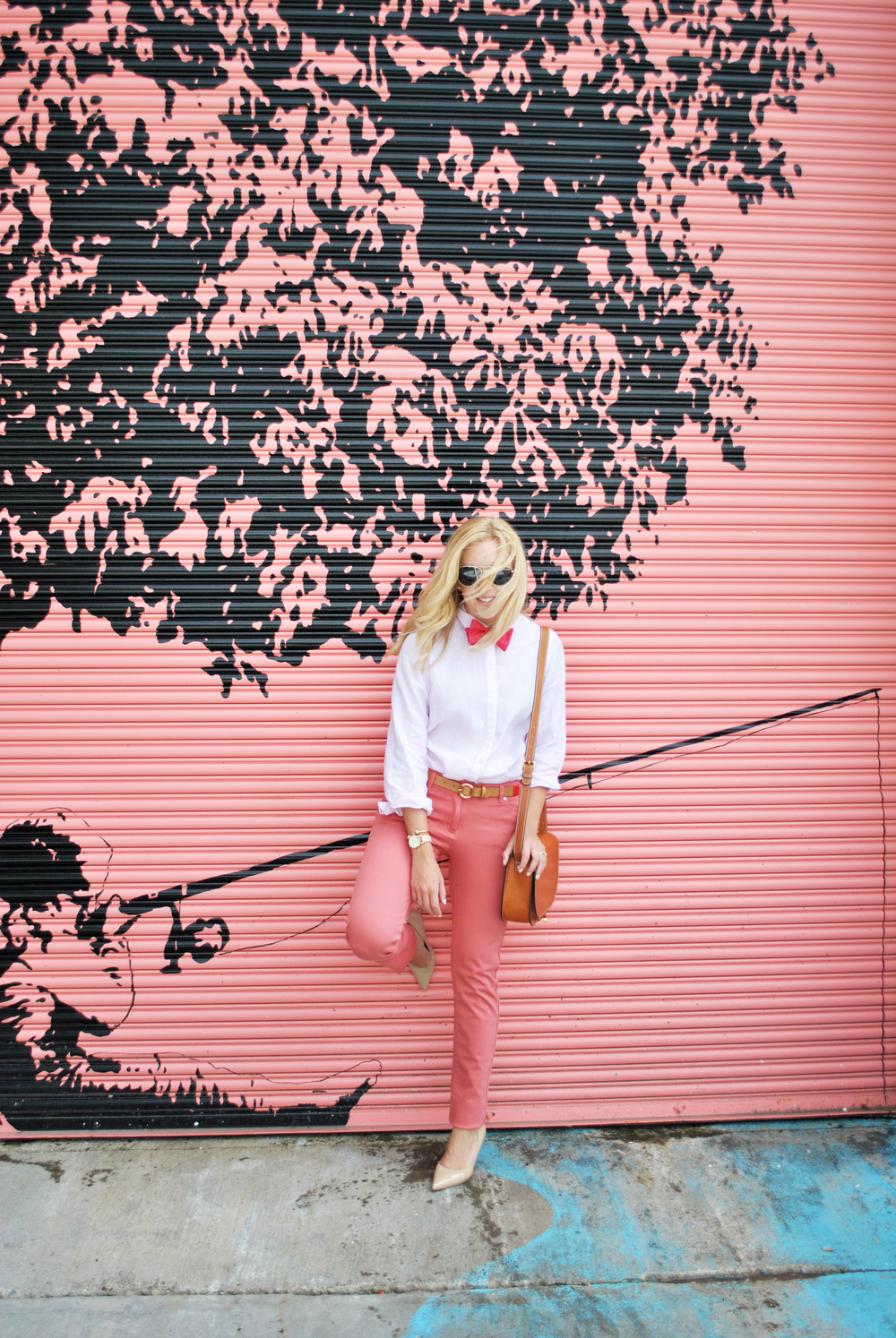 thoughtfulwish | preppy // school outfit // pink outfit // peach outfit // bowtie // j. mclaughlin // blonde fashion // fashion blogger // boston prep // boston fashion // new england fashion