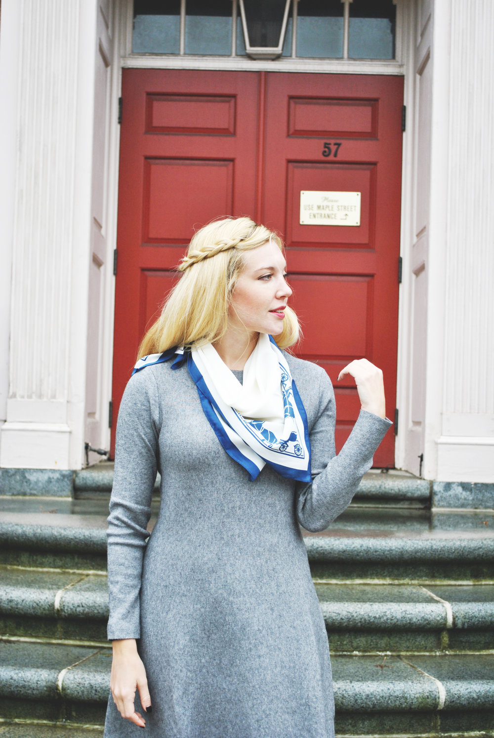 thoughtfulwish | yom kippur fashion // new england fashion // fall outfit // preppy // scarf // gray outfit // fall dress // boston // boston fashion // meredith wish