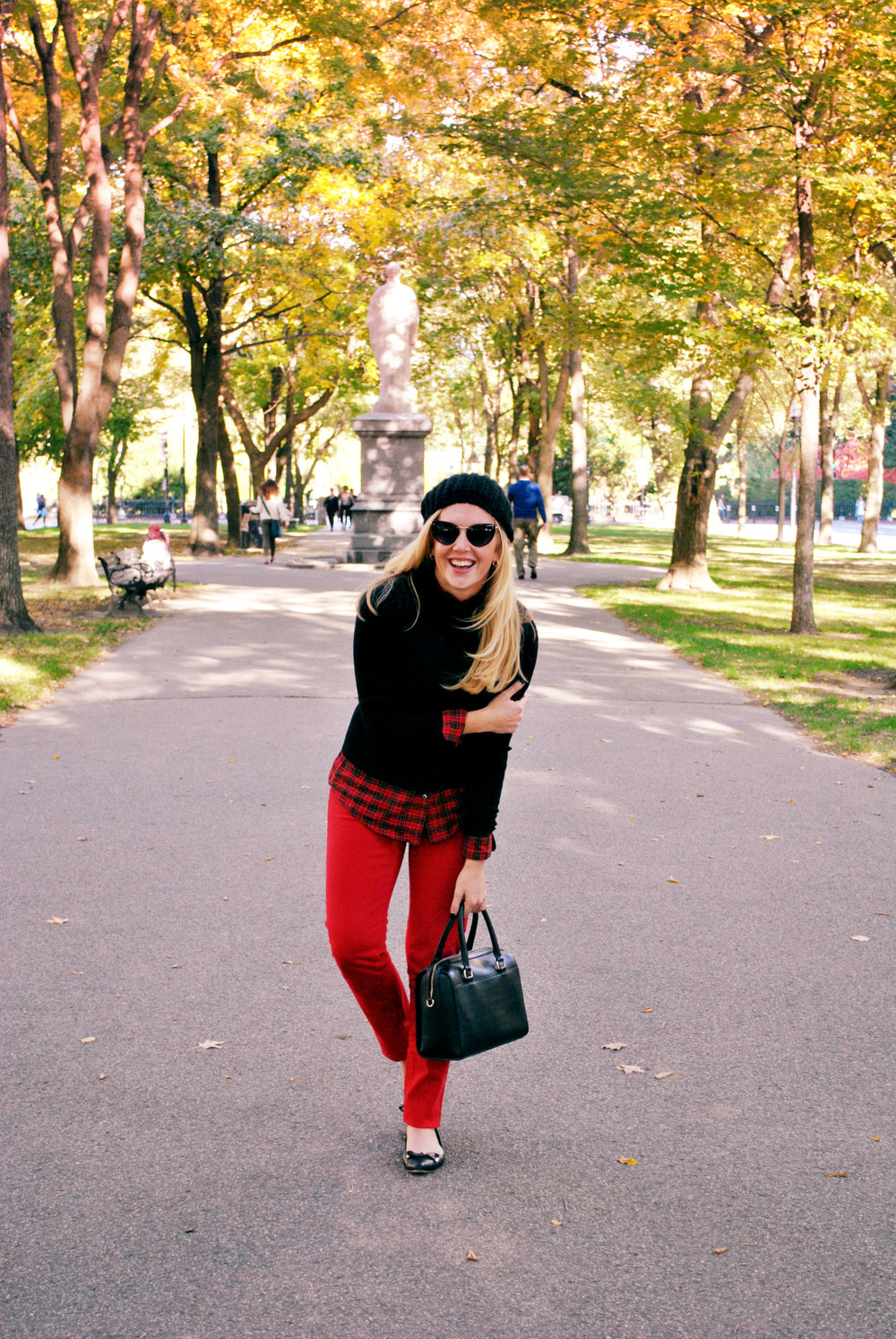 thoughtfulwish | j.mclaughlin // fall oufit // red pants // preppy // boston // boston public garden // comm ave // plaid // sweater weather // meredith wish