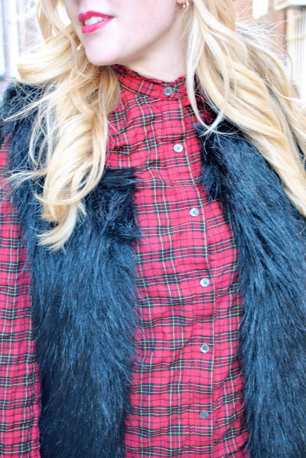 thoughtfulwish | j.mclaughlin // red plaid // salem // fall outfit // plaid outfit // fur vest // boots // preppy // meredith wish