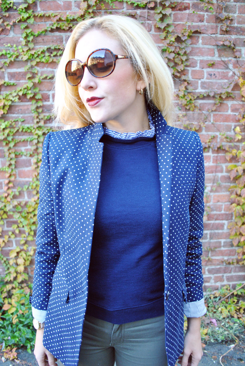 thoughtfulwish | preppy // boston // fashion // blogger // navy // olive // polka dots // stripes // ivy league // fall outfit // olive and navy outfit