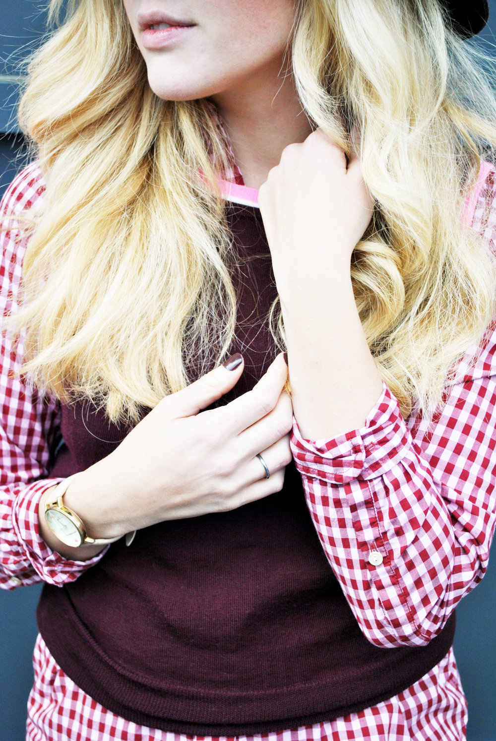 thoughtfulwish | maroon outfit, burgundy outfit, gingham, j.crew, wax coated pants, buffy, preppy outfit, boston fashion, fashion blogger
