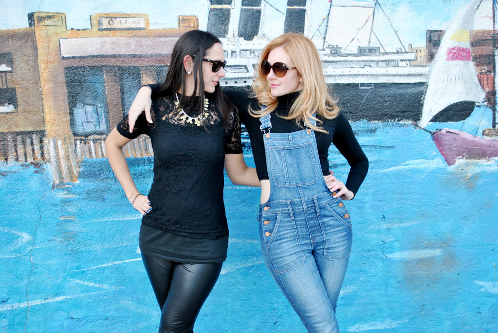 thoughtfulwish | best friends photoshoot, friends photoshoot, matching outfits, black outfits, overalls, michael kors, christian louboutin, j.crew, hoboken, fblog, fashion blog, fashion blogger