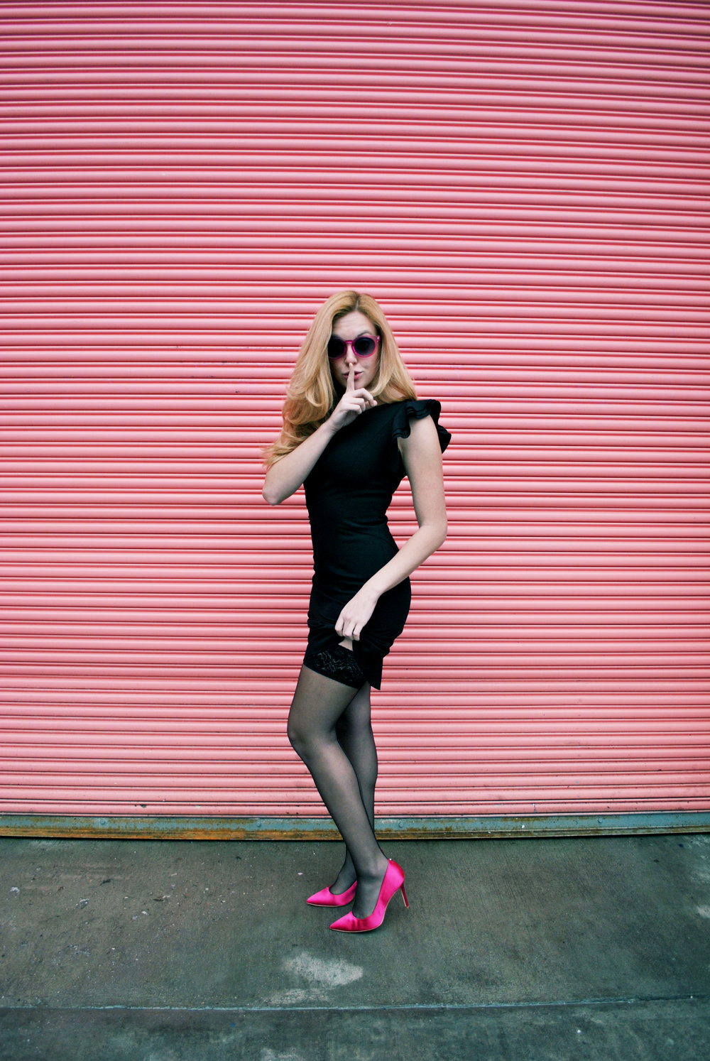 thoughtfulwish | stockings, vienne milano, rockabilly, thigh highs, valentine's day, fashion blogger, fashion, fblog, black dress, sale, hot pink, same edelman, heels, kate spade, meredith wish