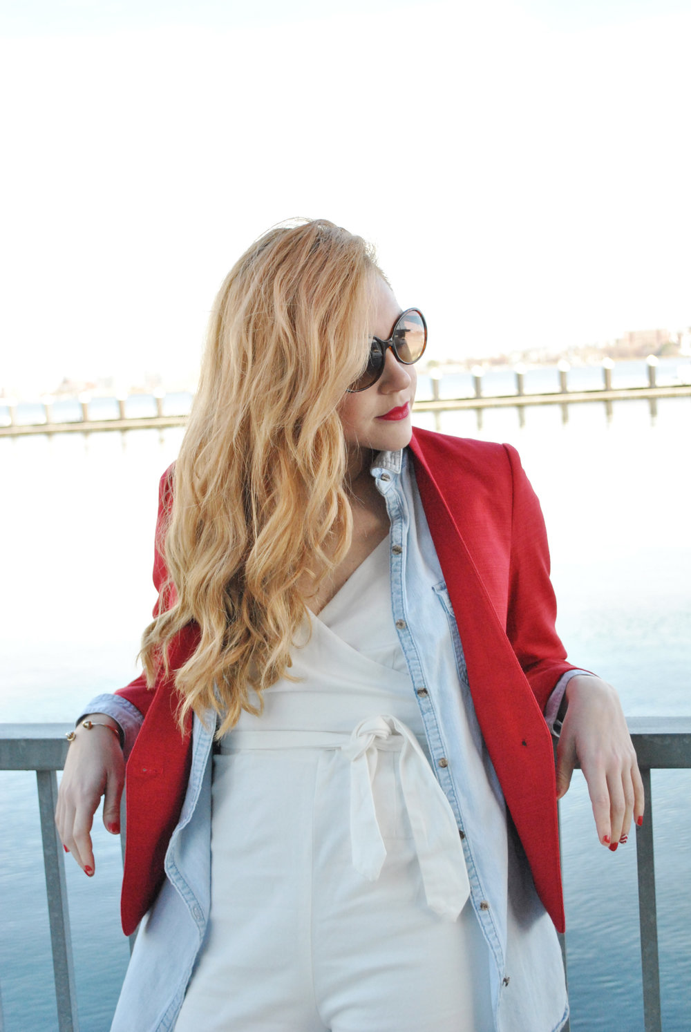 thoughtfulwish | jumpsuit, white, anthropologie, wide leg, fashion, fashion blogger, fashion blog, spring outfit, red jacket, layers, bandana, j.crew, madewell, ICA, boston, bosblogger