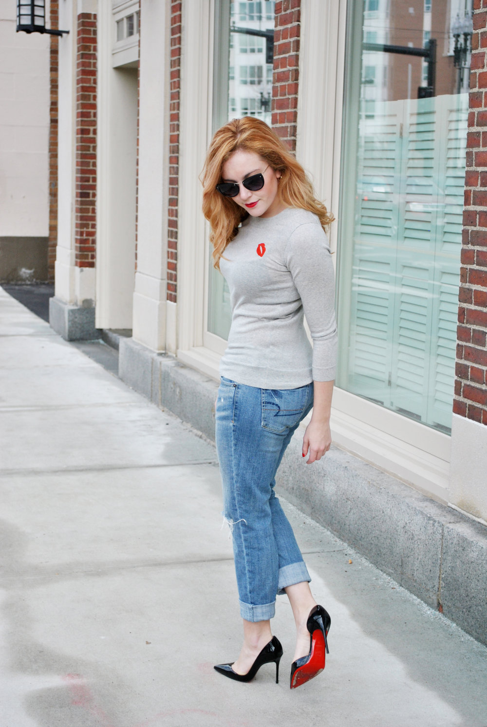 thoughtfulwish | j.crew, boyfriend jeans, lip patch, spring outfit, christian louboutin, louboutins, new england fashion, boston fashion, bosfashion