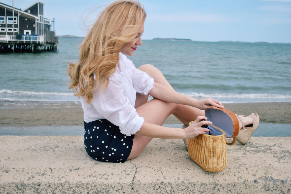 thoughtfulwish | j.crew, high-waisted shorts, polka dots, pinup, nantucket basket, j.mclaughlin, boston, bosblogger, fashion, fashion blogger, preppy, fblog