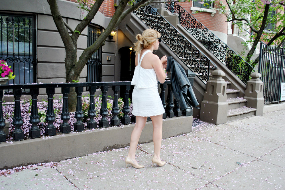 thoughtfulwish | nordstrom, white dress, summer outfit, ruffles, halter dress, gossip girl fashion, boston fashion, south end, boston, meredith wish