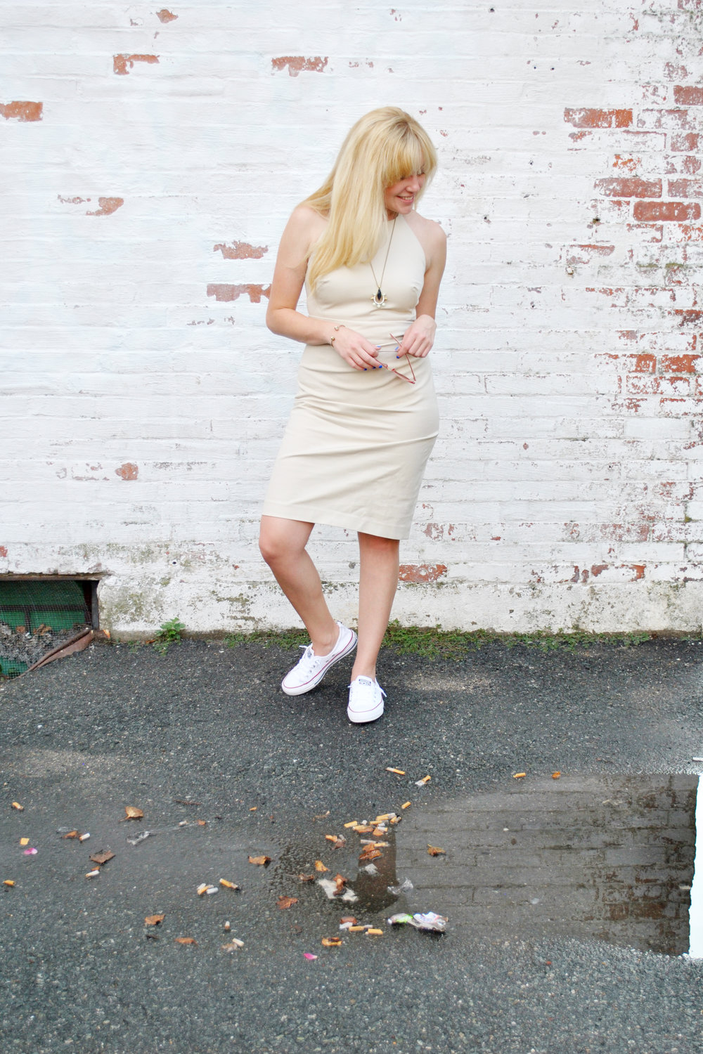 Thoughtfulwish | banana republic, boston blogger, Boston fashion blogger, preppy style, new england style, halter dress, converse with dress, summer outfit, meredith wish, boston