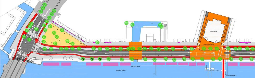 Variant 1 (Eilandenoverleg) met volwaardig fietspad langs het water, handhaving Kattenburgerplein en bomen, voorsorteerstrook minder, handhaving stoplichten en opstelvakken bij Oosterkerk.