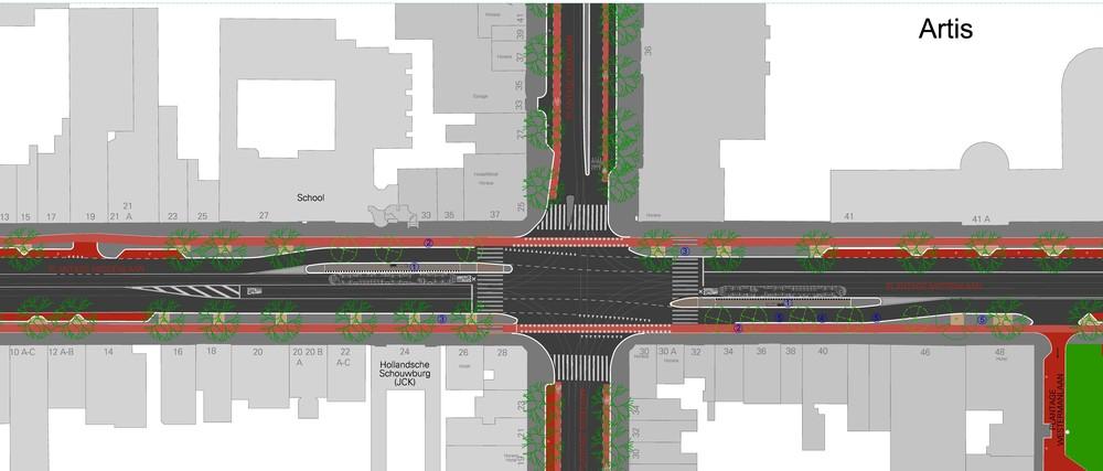 Plan voor verplaatsing tramhalte Artis stad-uit