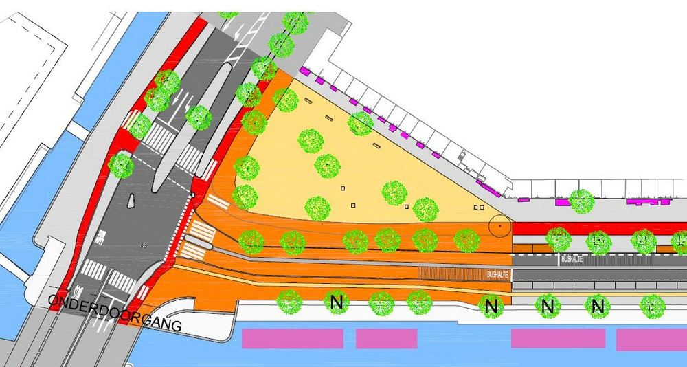 De gekozen mix van varianten: Kattenburgerplein met opstelstrook minder, rammelstrook in het midden van de weg en smal fietspad in parkverharding aan de waterkant